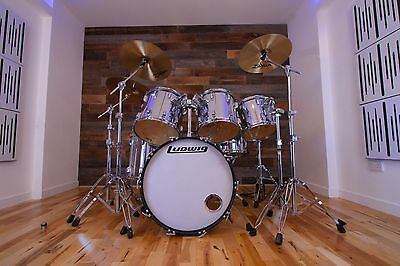 Ludwig Classic 1980's Drum Kit Finished In Chrome Roger Taylor Style Set Up