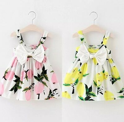 Baby Girls Summer Dress Outfit Floral Holiday Boutique Bow Lemon Pink 18-24 M