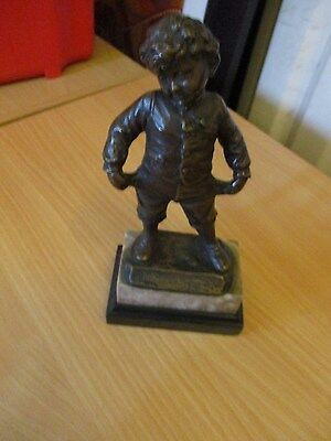 Bronze figurine victorian boy - empty pockets = two coloured stone plynth 170cm