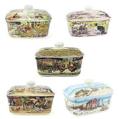 Butter Dishes Countryside Farm or Seaside Designs China Butter Dish