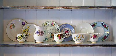 11pc Vintage China Mismatched Tea Set for 3, Tea Cups, Saucer, Plates, Jug, Bowl