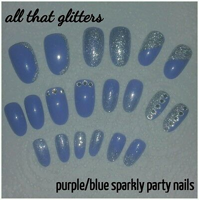 Purple/Blue Round PARTY SPARKLY Nails with Gems & Pure Silver Glitter x 20