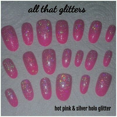 Hot Pink Round Nails with Holographic Glitter Fade x 20