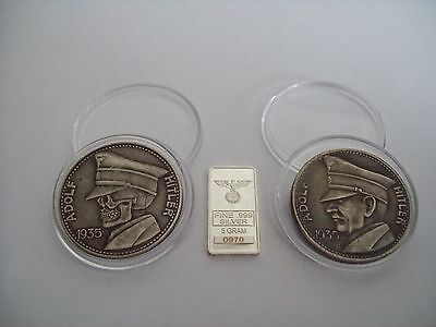 German 1935 Adolf Hitler coin and bar set totenkopf ww2. new. skull, zombie coin