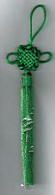 Feng Shui Wealth Green Mystic Knot with Tassel
