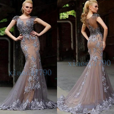 Long Lace Evening Cocktail Formal Party Ball Bridesmaid Beads Prom Gown Dress