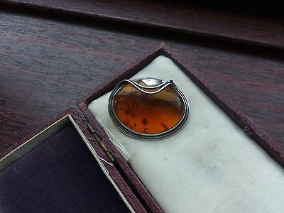Sterling Silver & Baltic Amber Brooch