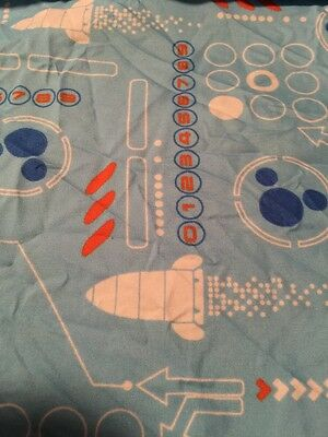 Disney Baby Crib Set Fitted Sheet. Top Sheet Mickey Outer Space Ships Blue
