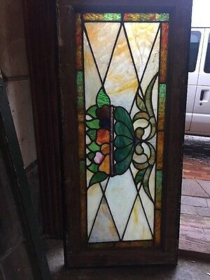 Sg 1458 Antique Fruitbowl Transom Stainglass Window 16.5 X 36.5