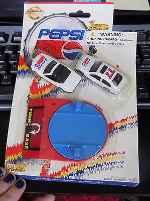 Vintage Golden Wheel Pepsi Turn Base w/ 2 Cars. In Package. No 19172. RARE