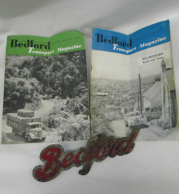 Vintage Bedford Truck /Bus / Lorry Grill Radiator Badge / Emblem & 2 Magazines