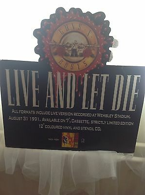 Rare Stand Up Shop Advertising Board - Guns 'N' Roses - Live & Let Die