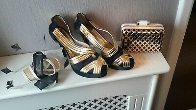 black & gold shoes size 4, bag and fascinator. stunning formal wear ex con