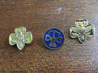 Three Vintage Girl Scout Pins