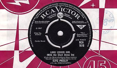 Elvis Presley The Long Legged Girl RCA 1967 b/w That's Someone You Never Forget
