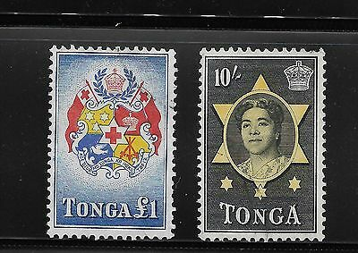 1953 Tonga Used Stamps 10S & £1 *a