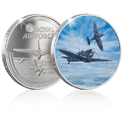 RAF Champion of the Air Commemorative Medal Coin in Silver Feat. a Spitfire NEW