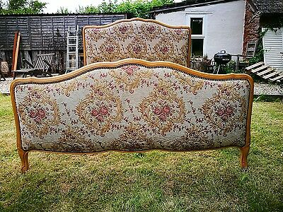 Vintage French Demi Upholstered Louis XV Style Double Bed