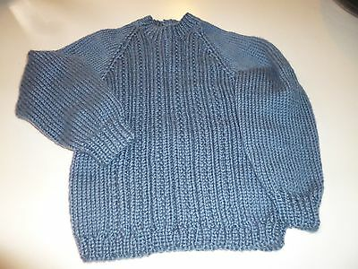 BOY'S Round Neck SWEATER   Hand Knitted  2 years   COUNTRY BLUE