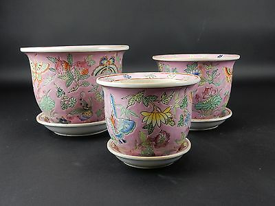 Set of (3) Chinese Famille Rose Planters and under plates Signed pieces
