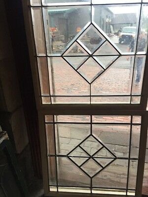 Sg 1463 Match Pair Antique Beveled Glass Windows 26 X 26 1/2