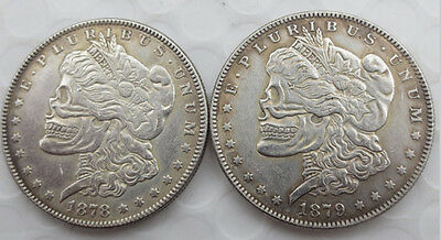 1878 Hobo Morgan Dollar On One Side, 1879 Hobo Morgan On The Other