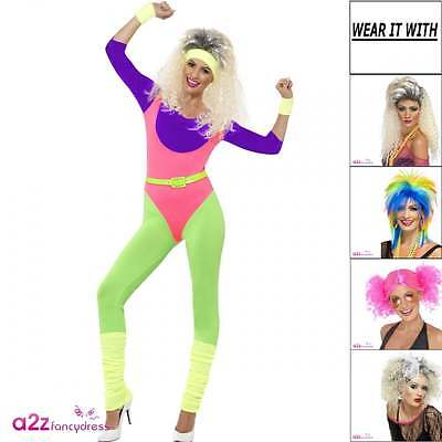 Womens Neon 80s Workout Adult Fancy Dress Costume Wig Fitness Disco Outfit