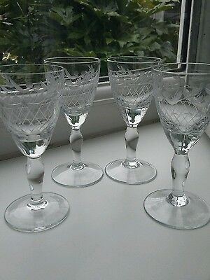 Vintage  Etched Glass Small Liqueur/Sherry Glasses SET of 4 VGC