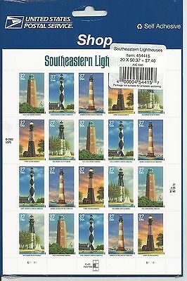 MNH U.S. #3791a Southeastern Lighthouses Pane of 20 37c Stamps -- c.v. $37.00.