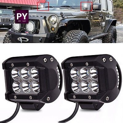2X 4inch 18W CREE LED Work Light Cube Pods Spot Off Road Truck ATV SUV Boat 4WD