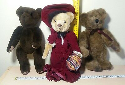BRASS BUTTON BEAR 1910 GABRIELLE & jointed bears lot of 3 vintage bears Boyds