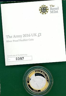 2016  The Army,  UK £2  Silver Proof  Piedfort Coin  with Cert/B.O.I.