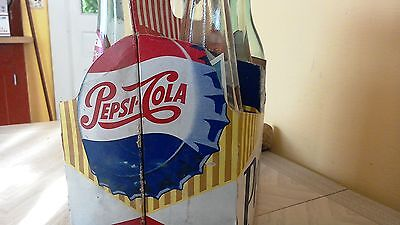 Vintage Cardboard Pepsi Six Pack Carrier~ Super bright & cool Barn find!