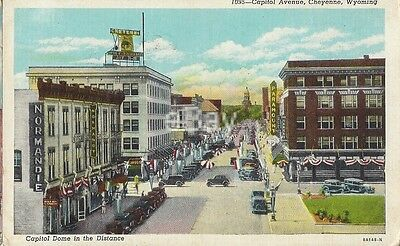Vintage postcard showing 1940's view of Capitol Avenue, Cheyenne, Wyoming