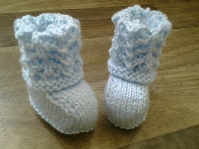 Hand knitted lacy top blue  baby booties 0-6 months