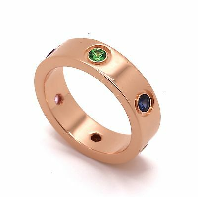Cartier Love Ring Rainbow 18k Rose Gold Sapphire Garnet & Amethyst  Ref B4087800