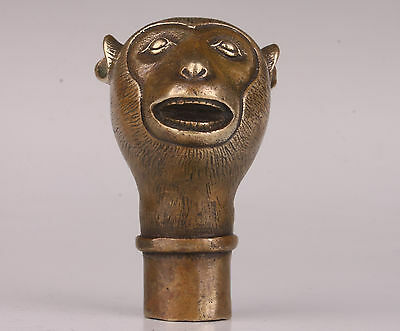 Cute Monkey Statue Bronze Figurines Cane Walking Stick Head Handles Collectable