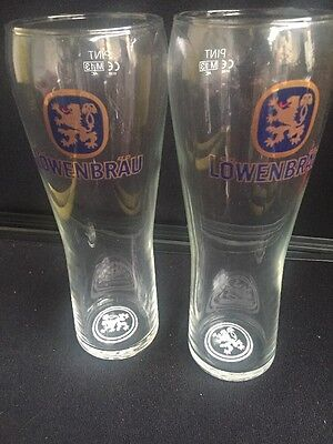Lowenbrau lager long Pint Glasses Pair x 2 Home Bar Pub man cave