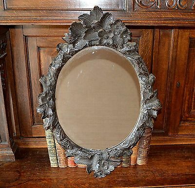 Antique Black Forest Large German Carved Wood Oval Mirror