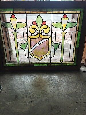 Sg 1473 Antique Stainglass Landing Transom Window Pastel 26.25 X 35