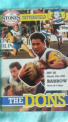 Doncaster v Barrow Semi 1992 Rugby league programme