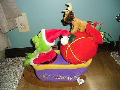 Dr Seuss How The Grinch Stole Christmas Animated Musical Plush Sleigh Sled Max