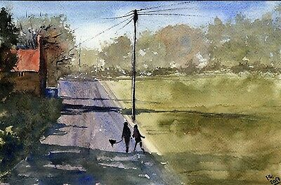 "○°Original Aquarell,Watercolor,Sommer, Haus,Landschaft, Spaziergang""°○"