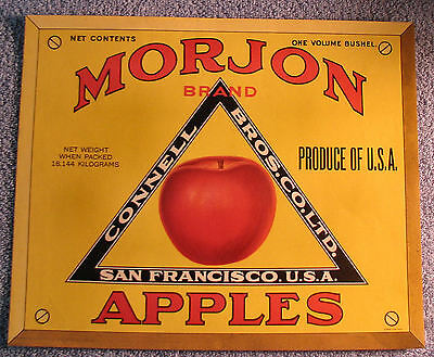 Vintage MORJON Apple Crate Label  San Francisco, Calif  Red Apple Yellow Border