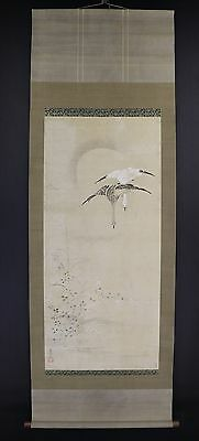 """JAPANESE HANGING SCROLL ART Painting """"Bird and Flower"""" Asian antique  #E6025"""