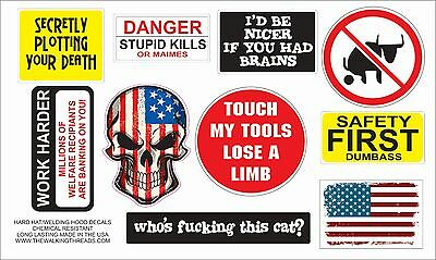 Funny Lot of 10 Hard Hat Stickers Helmet Hood Tool Box Decal Label Made in OHIO