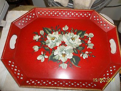 "nasco red metal hand painted tole tray 20""x15"" VINTAGE  FLORAL w sticker NICE NR"