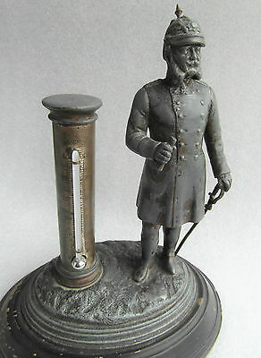 Pre WW1 Metal Desk Reaumur Scale Thermometer With Emperor Kaiser Wilhelm German