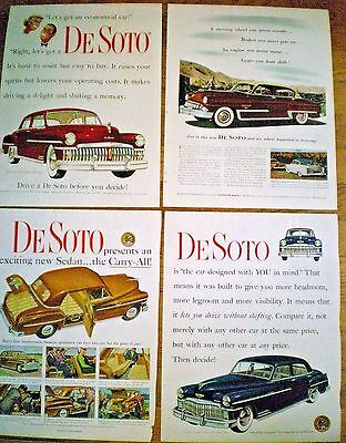 Group of 4 different DESOTO CAR ADS ~ 1949 to 1953
