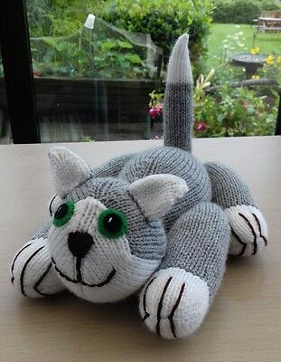 Soft & Cuddly Brand New Hand Knitted Grey & White Cat / Kitten Soft Toy